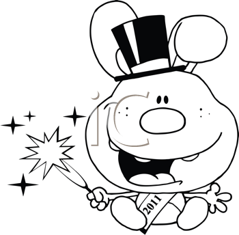 Royalty Free Clipart Image of a 2011 New Year's Rabbit