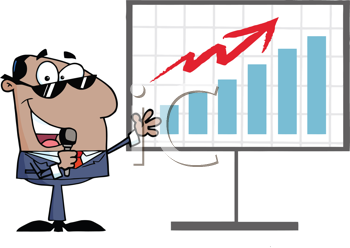 Royalty Free Clipart Image of a Man in Front of a Graph With a Microphone