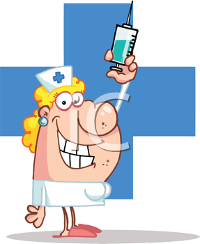 Royalty Free Clipart Image of a Nurse in Front of a Blue Cross Holding a Syringe