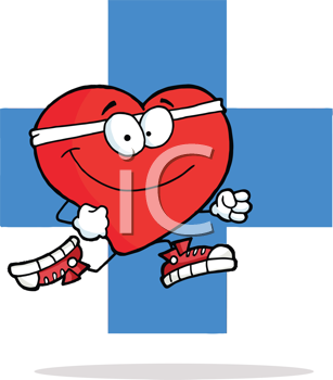 Royalty Free Clipart Image of a Running Heart on a Blue Cross