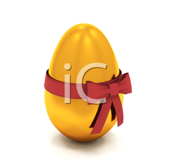 Royalty Free Clipart Image of an Egg With a Bow