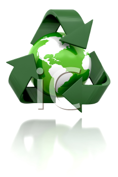 Royalty Free Clipart Image of a Globe in a Recycling Symbol