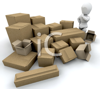 Royalty Free Clipart Image of Guy With Boxes