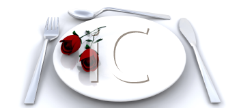 Royalty Free Clipart Image of a Place Setting With Roses