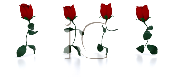 Royalty Free Clipart Image of Four Running Roses