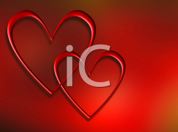 Royalty Free Clipart Image of Two Interlocking Hearts