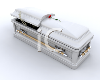 3D render of an ornate coffin