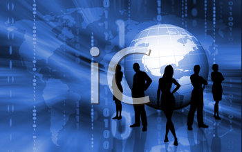 Silhouettes of business team on binary globe background