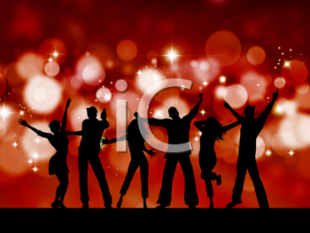 Silhouettes of people dancing on blurred lights background