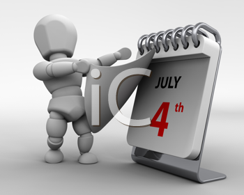 3D render of a man with a calender tearing off a page