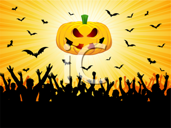 Halloween party background with a crowd silhouette, pumpkin and flying bats
