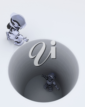 3D render of a robot stuck in a hole metaphor