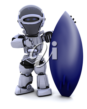 3D render of a Robot with a surf board
