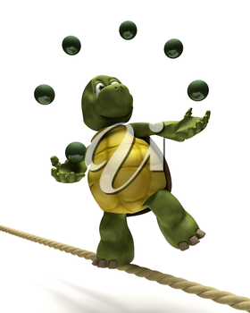 3D Render of Tortoise juggling on a tight rope