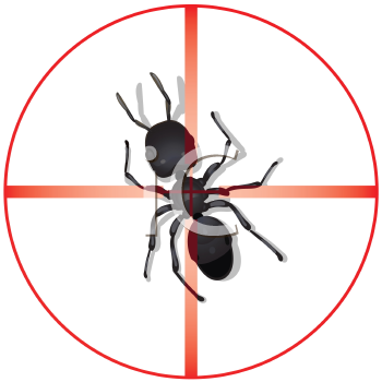 Royalty Free Clipart Image of an Ant in the Center of a Scope