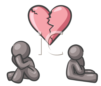 Royalty Free Clipart Image of a Couple and a Broken Heart