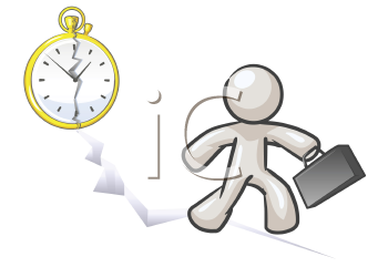 Royalty Free Clipart Image of a Man Running With the Floor Cracking and the Clock Behind