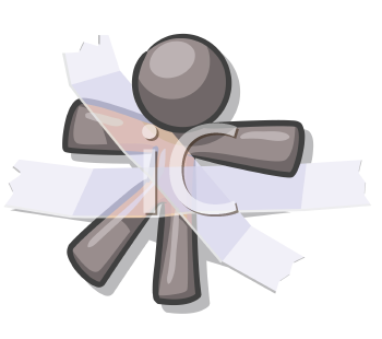 Royalty Free Clipart Image of a Grey Guy Taped Down