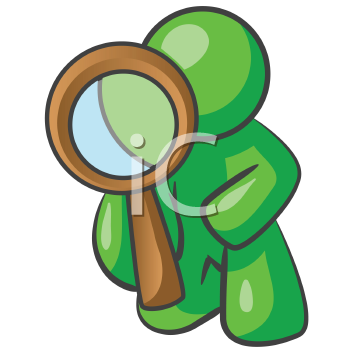 Royalty Free Clipart Image of a Green Man Looking Through a Magnifying Glass
