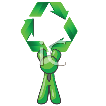 Royalty Free Clipart Image of a Green Man Holding a Recycling Symbol