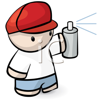 Royalty Free Clipart Image of a Kid Spraypainting