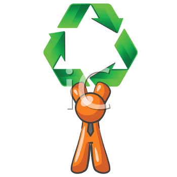 An orange man holding up a large recycling symbol. Good concept for environmental subjects.