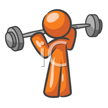 Orange Man lifting weights and working out.