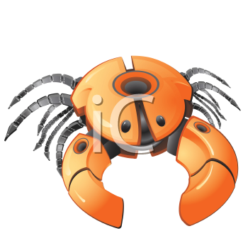 Royalty Free Clipart Image of a Spider or Crab Robot