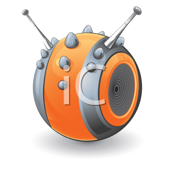 Royalty Free Clipart Image of an Orange Studded Ball With Antennae