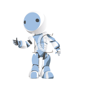 Royalty Free Clipart Image of a Robot With His Hand Out