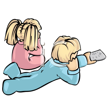 Royalty Free Clipart Image of Two Small Children in PJs Watching Television