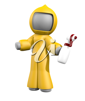 3d lady with sprayer, ready to clean up bio-hazard or disaster area. Yellow suit, red and white sprayer, gray 3d woman!
