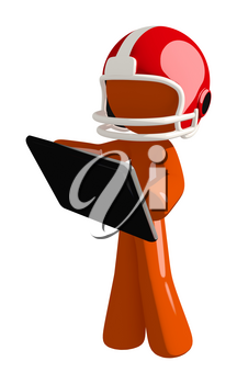 Football player orange man holding a tablet likely using a sports app.