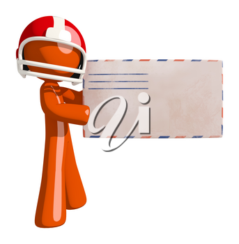 Football player orange man delivering a large envelope