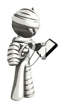 Mummy or Personal Injury Concept Looking at Phone