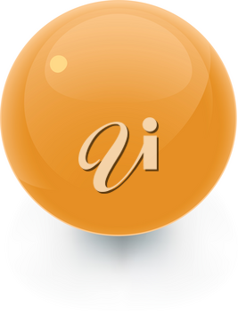 Orange Glossy sphere on a white area with a soft shadow. Good as a blank icon template.