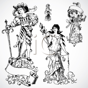 Royalty Free Clipart Images of Medieval Peopla