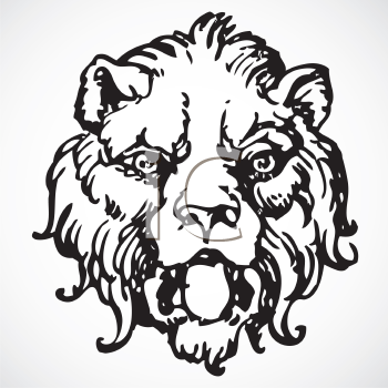 Royalty Free Clipart Image of a Gothic Lion's Head