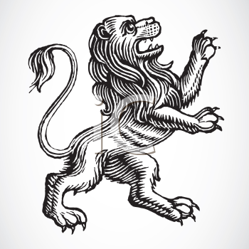 Royalty Free Clipart Image of a Griffin Lion