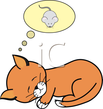 Royalty Free Clipart Image of a Dreaming Cat