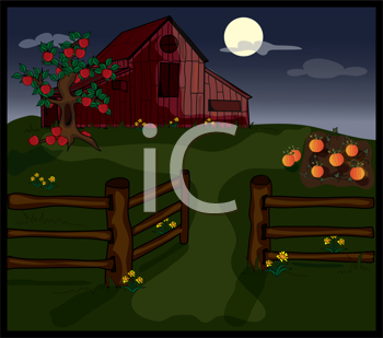 Royalty Free Clipart Image of a Barn and Pumpkin Patch