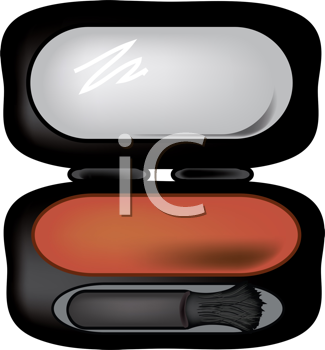 Royalty Free Clipart Image of a Blush Compact
