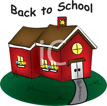 Royalty Free Clipart Image of a Red Schoolhouse