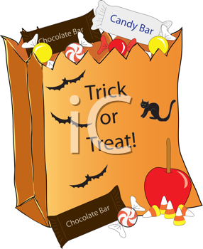 Royalty Free Clipart Image of a Trick Or Treat Bag