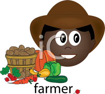 Royalty Free Clipart Image of a Farmer Icon