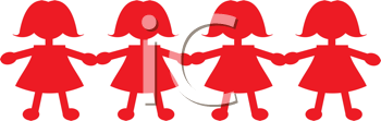 Royalty Free Clipart Image of Paper Dolls Holding Hands