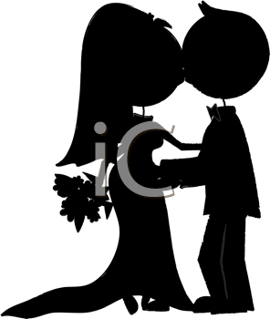 Royalty Free Clipart Image of a Silhouette of a Bride and Groom Kissing