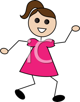 Royalty Free Clipart Image of a Stick Girl