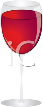 Royalty Free Clipart Image of a Glass of Wine