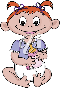 Royalty Free Clipart Image of a Baby Holding a Bottle